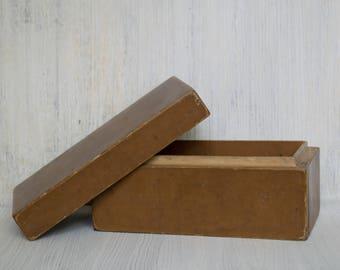 Vintage Wooden Storage Box Rustic Wooden Keepsake Box Primitive box