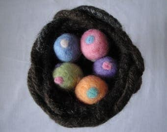 needle felt eggs, knitted felt nest, Easter decoration, nature gift, polka-dot eggs, five eggs in a nest, hostess gift, felt nest ornament