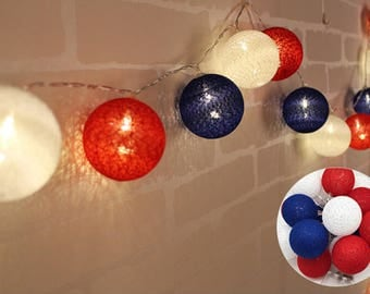 10 Feet Navy Blue Red White Cotton Ball String Fairy Light 20 LED Baby Shower Birthday Wedding Patio Party Home Decoration
