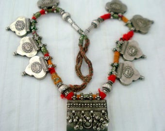 vintage antique tribal old silver necklace pendant gypsy jewelry