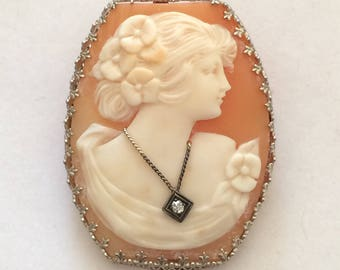 Vintage 14K Shell Cameo Brooch, White Gold Cameo Pin