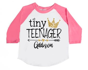 Tiny Teenager Birthday Shirt - 3rd Birthday Shirt -  Toddler Girl Shirt - Third Birthday - 3 Year Old - THREE Birthday - Birthday Girl