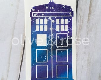 Phonebooth Vinyl Decal - Doctor Who Inspired Vinyl Decal - Tardis Inspired Vinyl Decal - Galaxy Print Vinyl Decal