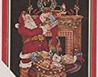 OOP Santa's Fireplace, Counted Cross Stitch Chart, by Donna Vermillion Giampa from The Vermillion Stitchery