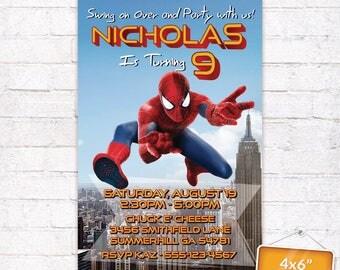 Spiderman Homecoming Movie Invitation The Amazing Spider-Man Superhero Birthday Party Spider Man Card Invite Customized Digital File (Evite)