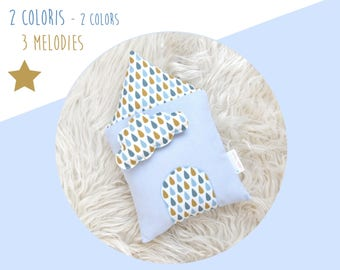 Cushion musical House cloud - organic cotton and oeko-tex - small drops blue and mustard yellow