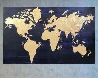 Modern World Map Canvas. World map canvas  Map Wall art Gold Leaf Painting of the leaf world Etsy