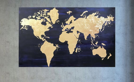World map canvas world map wall art gold leaf painting map like this item gumiabroncs Gallery