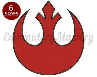 Star Wars REBEL ALLIANCE logo machine embroidery design. Star Wars machine embroidery. Instant download - 6 Sizes