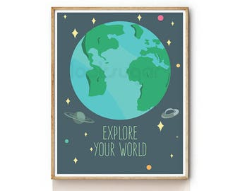 Planet Earth Art Print . Outer Space Print for Kids . Baby Nursery Art . Children Illustration . Nursery Wall Art . KP0069