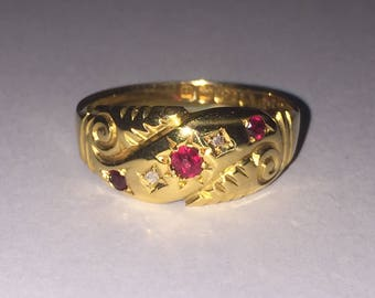 An Antique Gold, Ruby and Diamond ring. Birmingham circa 1901.