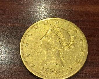 Very Fine & Rare 10 Dollars Liberty Head 0.900 Gold Coin, c 1888/S.