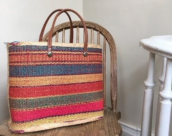 Rainbow Stripe Vintage Straw Tote w/ Leather Handles
