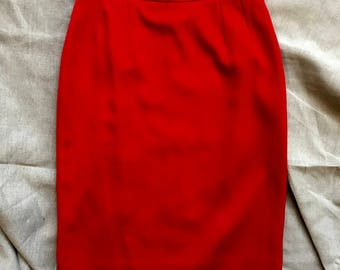 Red Yves Saint Laurent Pencil Skirt