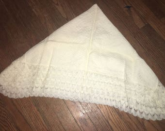Vintage 1970s Square off-white Baby Blanket