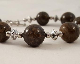 Brown Round Stone Beaded Bracelet - Brown Stone Bracelet - Stone Bracelet - Brown Bracelet - Chunky Bracelet - Brown Jewelry - Brown Stone