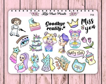 19 Party Power Stickers P-111 - Perfect for Erin Condren Life Planners / Journals / Stickers.