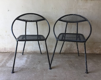 Mid Century Modern Salterini Folding Patio Chairs - Set of 2