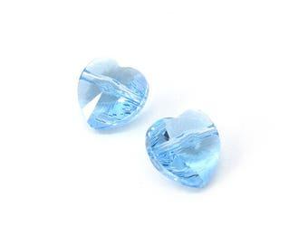 2pc 10mm Swarovski Crystal Heart Beads, Aquamarine Beads, Swarovski Heart 5742, Crystal Beads, 10mm Heart Bead, April Birthstone