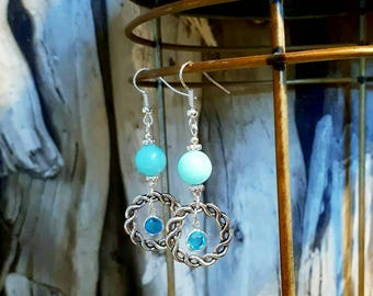 Unique earrings with blue marble blue crystal and silver.