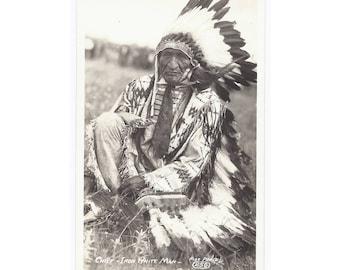 RPPC - Real Photo Postcard - Chief Iron White Man - Vintage Card