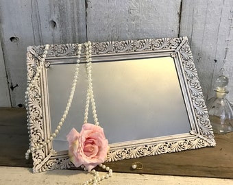 White Brass Filigree Vanity Mirror Tray, 17x11.5 Vintage Mirrored Vanity Tray, White with Antiquing, Ornate Dresser Mirror, Perfume Tray, #7