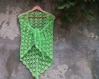 Cotton summer green shawl, crochet shawl, apple green shawl, light green shawl, boho shawl, cotton lace shawl, summer shawl, spring shawl