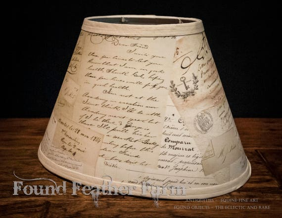 Small Ovel Vintage Drum Lamp Shade with Romantic Printed Antique French Love Letter Ephemera