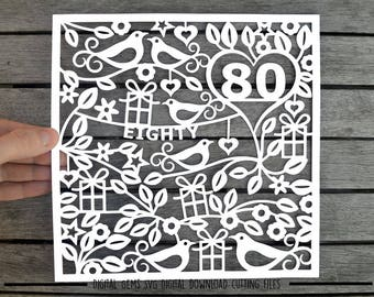 Number 80 paper cut svg / dxf / eps / files and pdf / png printable templates for hand cutting. Digital download. Small commercial use ok.