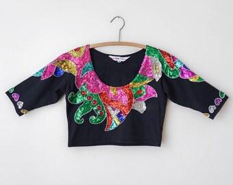 Vintage 1980's Colorful Sequin Crop Top