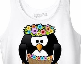 Aloha Hula Penguin Crop Top Midriff Shirt