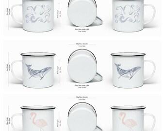 Pre-Order enamel mug, mug, octopus, whale, flamingo