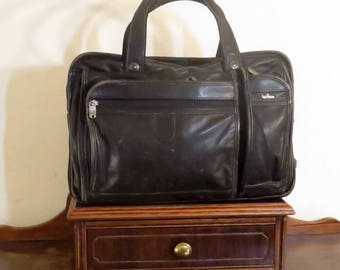 Hartmann Black Leather Soft Side Briefcase Bag Made In U.S.A. - GUC- Carrying Strap Missing