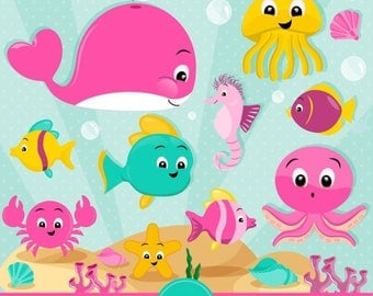 80% OFF SALE Ocean clipart, Sea animals clipart, Sea creatures, Marine life clipart, Ocean animals, Whale clipart - CA438