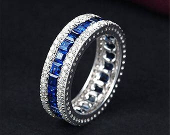 Ciella's -  28 sapphire PLUS 50 White Cz 7.3MM - White Gold Wedding Ring