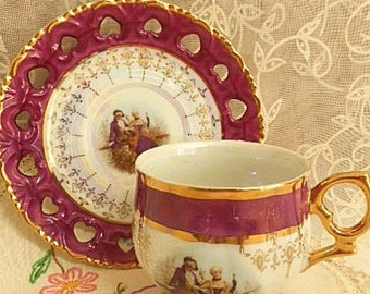 Vintage Cup & Saucer Duo ~1950's Seyei Lustreware Fine China
