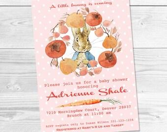 Peter Rabbit Baby Shower Printable Invitations, Baby Girl Baby Shower Invitations