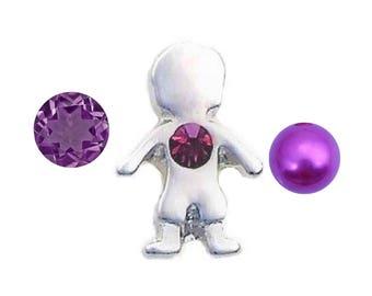 Mini February Boy Birthstone 4mm Pearl & 4mm Czech Crystal Floating Charm Set