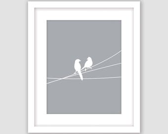 Birds on a Wire Print, Silver Light Gray and White, Animal Wall Art, Modern Art, Instant Download, DIY, Printable