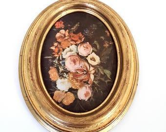 vintage french satin wooden frame, framed satin print