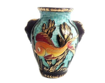 french vintage Monaco ceramic vase, mid century vase, 1950's, kitsch vase made in france