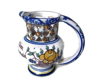 vintage french Malicorne ceramic pitcher, pitcher with secret