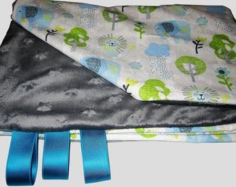 Elephant baby blanket blanket. Minkee/cotton