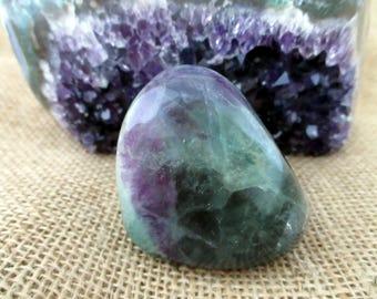 Rainbow Fluorite Crystal, Green Purple Free Standing Mineral Gemstone Rock Stone Specimen Display Piece, 5.5 cm 2.25 inches, 280 gram 9.9 oz