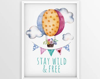 Nursery Art Printable - nursery art - Stay wild & free - wall art - 8x10 - flowers - kids
