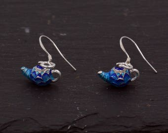 Sterling Silver Hand Painted Enamel Drop Hook Earrings Cute, Fun and Quirky