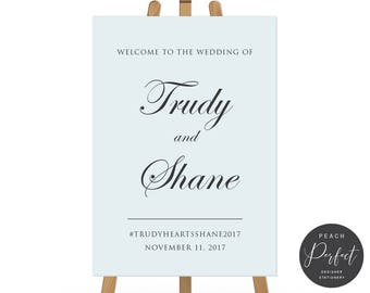 Pale Blue and Charcoal Wedding Welcome Sign, Free Colour Changes, Wedding Poster, DIY Printable We Print, Salt Water Suite