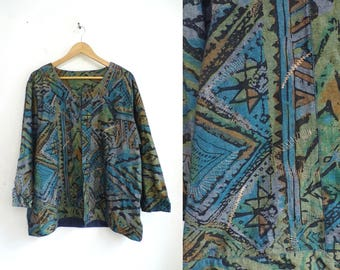 90s chambray jacket abstract print jacket metallic bronze embroidered jacket open front jacket lightweight woven womens jacket xl/plus size