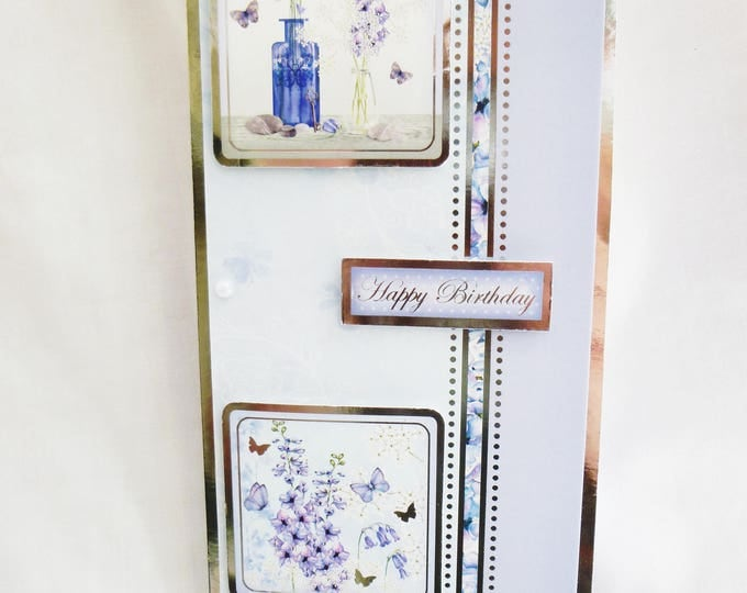 Butterflies and Flowers Card, Birthday Card, Greeting Card, Silver and Blue, Female, Any Age,Mother, Daughter, Sister, Niece, Aunt, Friend