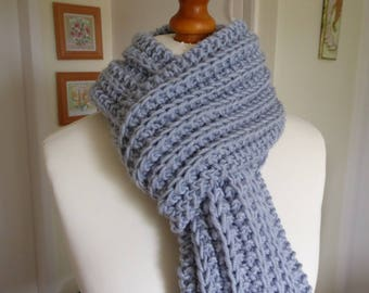 Beautiful silver grey chunky hand knitted scarf in a premium acrylic yarn